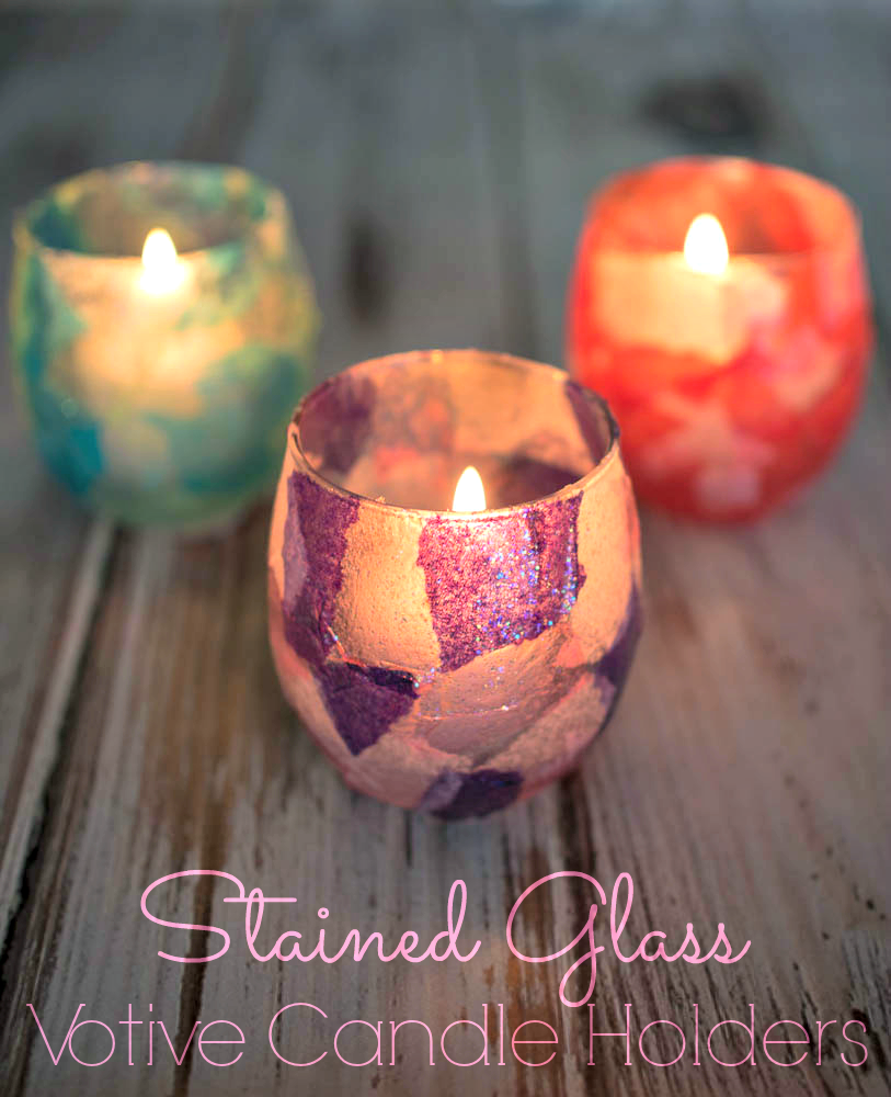 Faux Stained Glass Votive Candle Holders | Glass votive ...