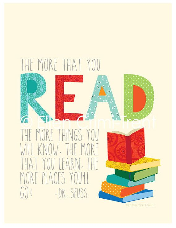 Reading Quotes For Kids Drseuss The More You Read Kids Wall Art  Kid Wall Art