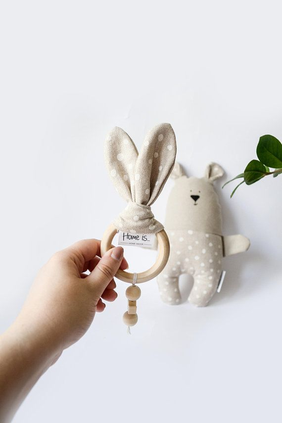 Items similar to Teether & Bear set for baby gift, Beige Stuffed Teddy bear toy with wooden teething ring, baby gift set, Baby birthday gift, Newborn gift on Etsy