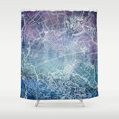 violet et bleu carte tissu rideau de douche salle de par mapology salle de bain. Black Bedroom Furniture Sets. Home Design Ideas