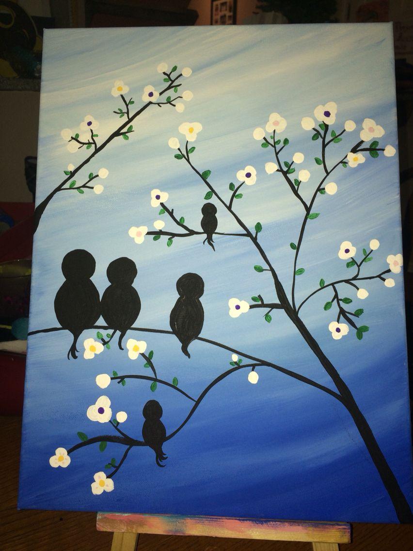Cute Family Of Birds Painting Cute Family Art