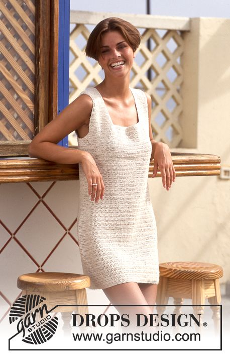 "Summer Eve - Gehäkeltes DROPS Kleid in ""Safran"" - Free pattern by ..."