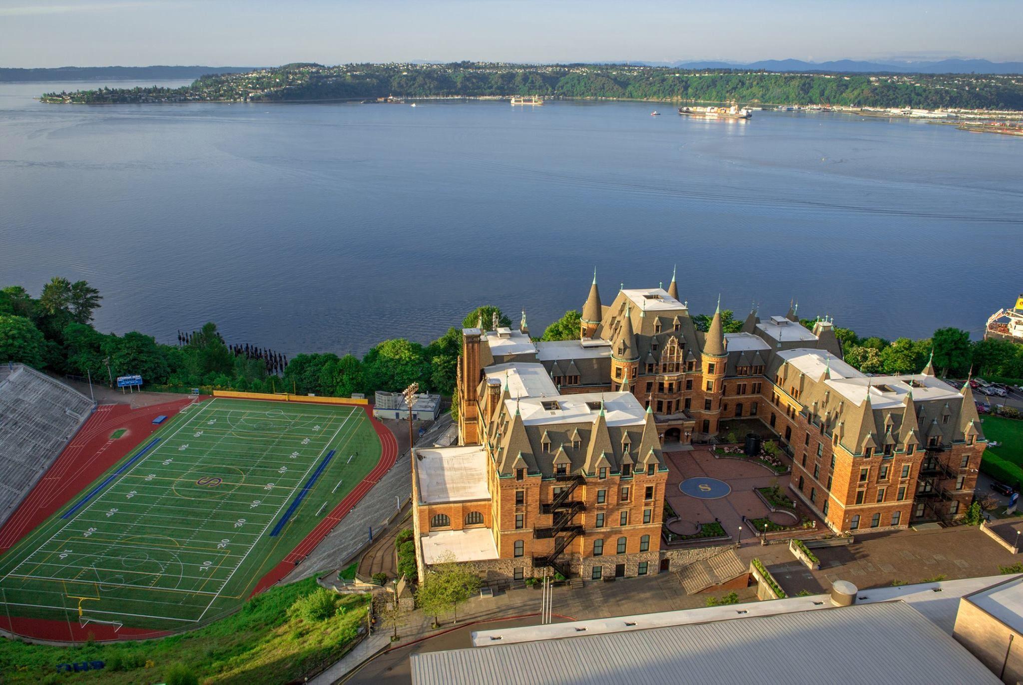 Aerial shot of Stadium High School, Tacoma WA; photo ...