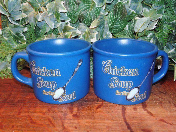 Large Soup Mugs, Chicken Soup For The Soul, Blue Cups, Soup Bowls w ...