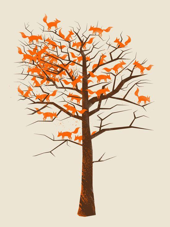 Blazing Fox Tree Art Print   38Sunsets   Society6