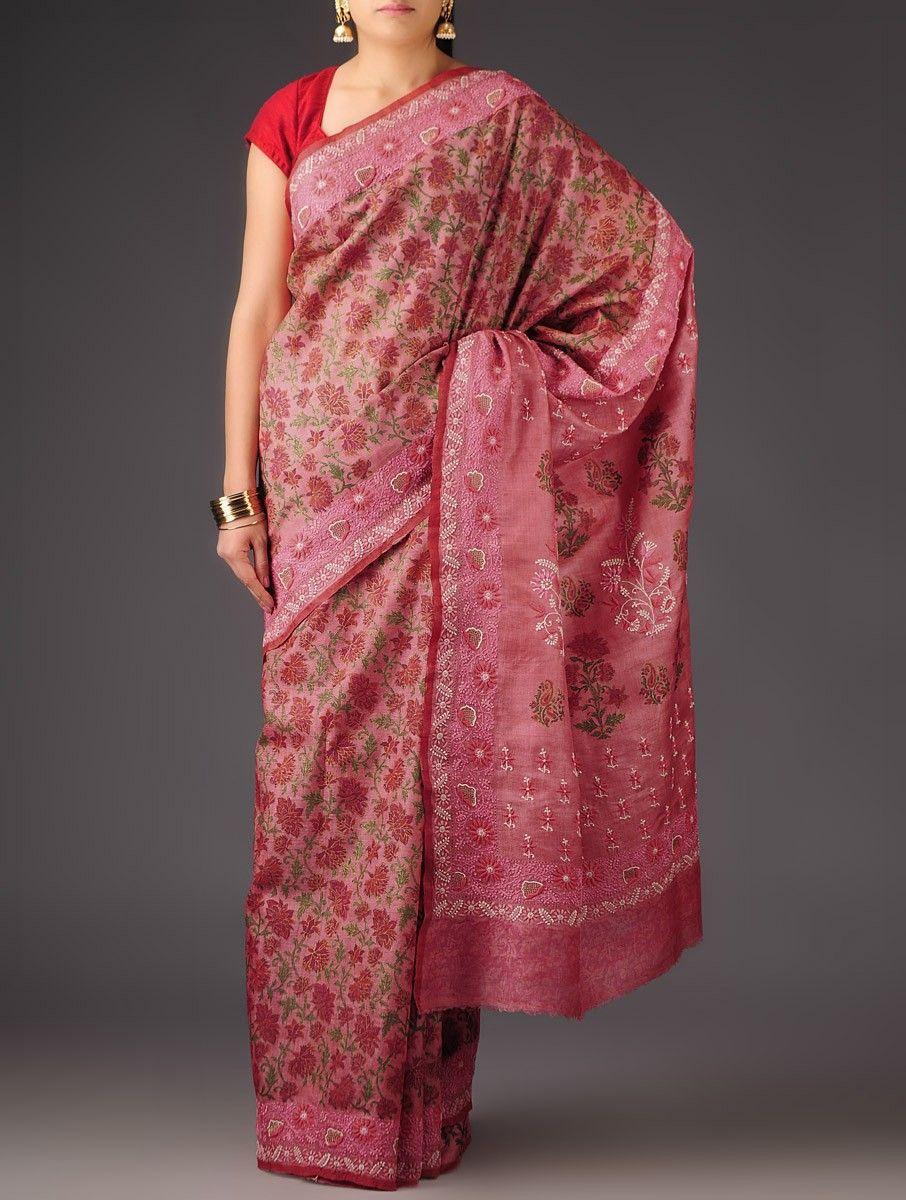 ddebbf3808dc4d Dark Pink Tussar Silk Chikankari Hand Block Printed Saree - Buy Sarees    Embroidered Sarees   Dark Pink Tussar Silk Chikankari Hand Block Printed  Saree ...