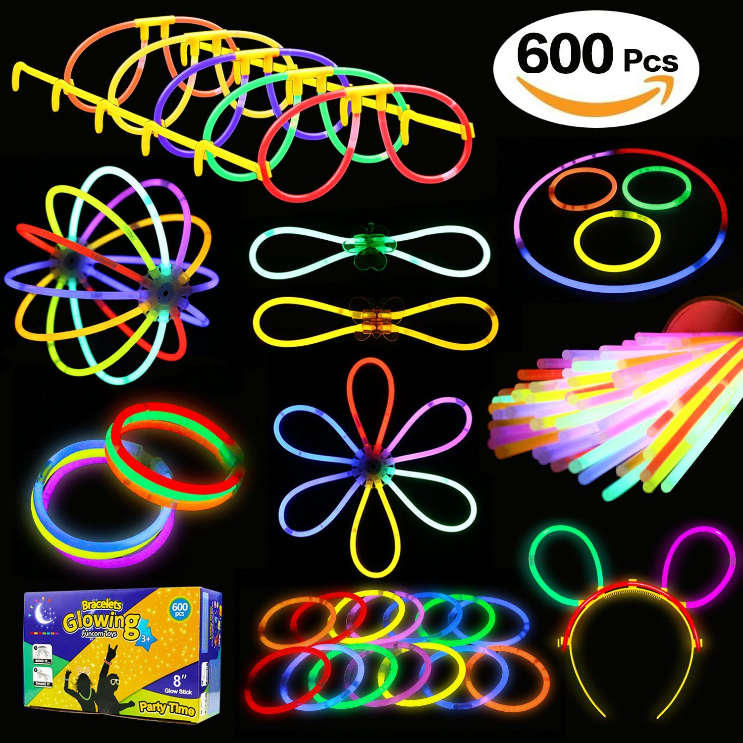 Glowstick 600 Pcs Total 250 Glow Sticks Bulk 7 Colour And Connectors For Bracelets Necklaces Eyegleore Funcorn Toys Light Up In The Dark