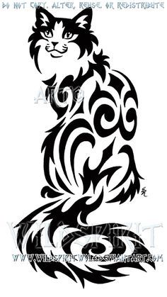 Sitting Tribal Cat Design by WildSpiritWolf on deviantART