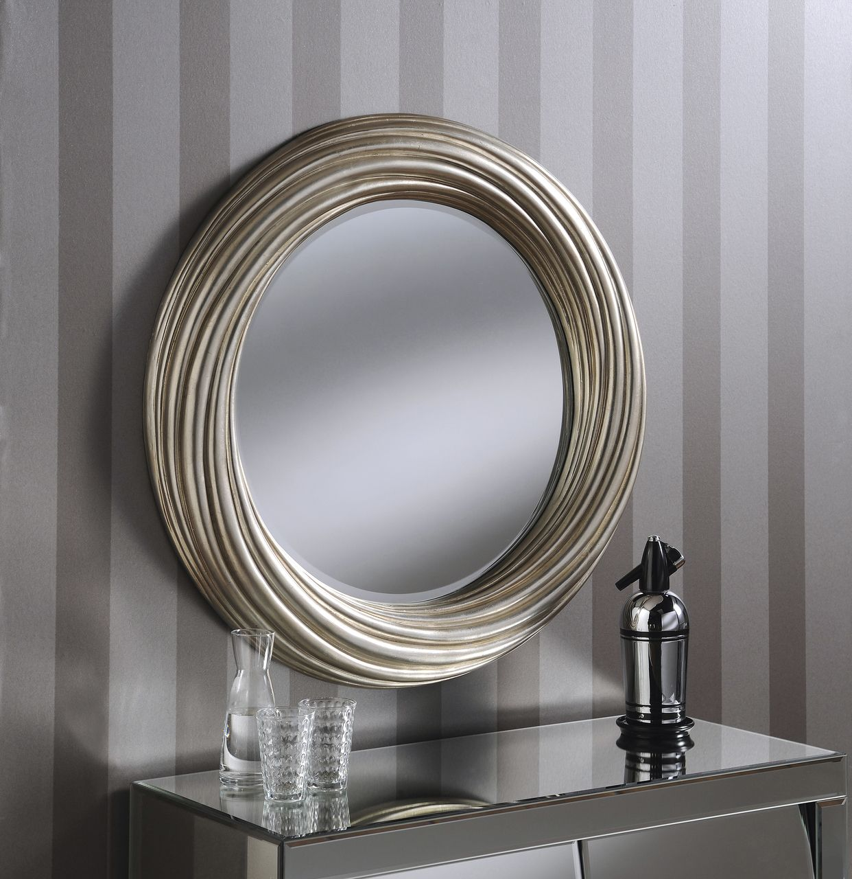Adele large round modern wall mirror silver frame art deco antique 32 82cm