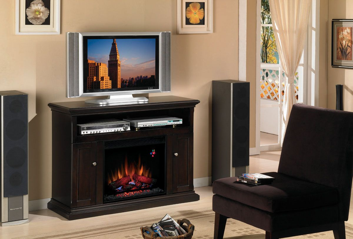 Classic flame cannes espresso electric fireplace tv stand mm