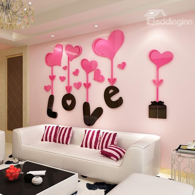 3d Love And Heart Shapes Acrylic Waterproof Sturdy And Eco Friendly Wall Stickers Wall Stickers Bedroom Birthday Wall Valentines Day Office
