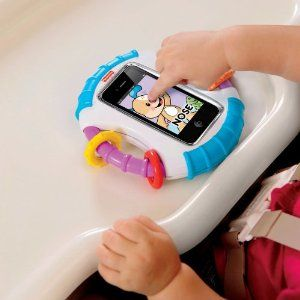 This is BRILLIANT... now baby can play with your iphone/ipod touch without fear of breaking it or being able to switch to different apps!! $14.99    OMG I NEED THIS!!!!