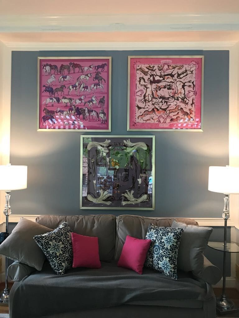 Butler Gallery Framed These Three Hermes Scarves Our Customer Sent Us This Photo Of How Great They Look On Her Wall Design Fabric Wall Art Interior Design