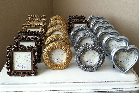 mini frames table numbers wedding shower silver bronze heart square circle - Mini Picture Frames