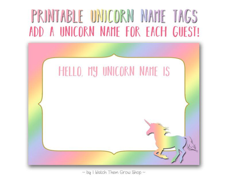 Rainbow Unicorn Name Tags Printable Rainbow Unicorn Name Stickers