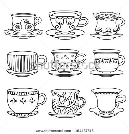 tea cup coffee cup saucers set simple sketch icon black line isolated on white background doodle cartoon drawing illustration vintage retro style drinks