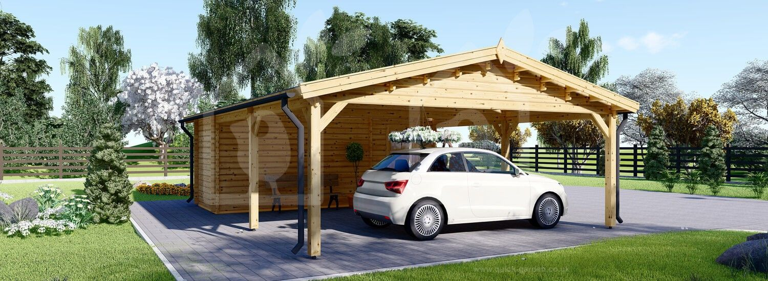 Double Wooden Carport With Shed 7.7m x 6m (25x20 ft) 44 mm