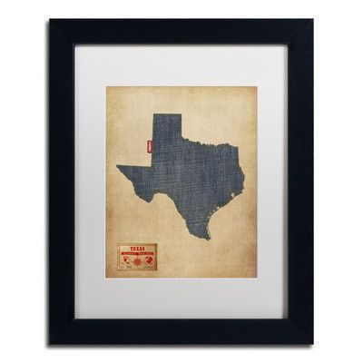 "Trademark Art 'Texas Map Denim Jeans Style' by Michael Tompsett Framed Graphic Art Size: 14"" H x 11"" W, Matte Color: White"