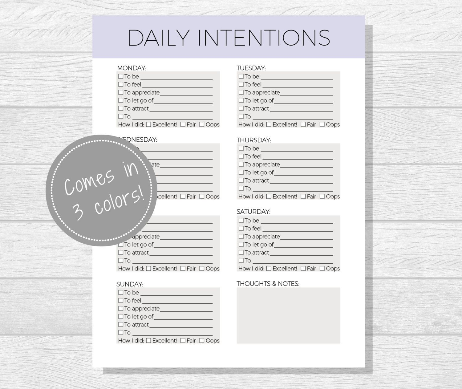 Daily Intentions Printable, Daily Affirmations, Daily Goal Worksheet ...