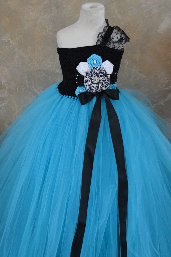 Turquoise Damask Flower girl tutu dress by TutuSweetBoutiqueINC, $60.00