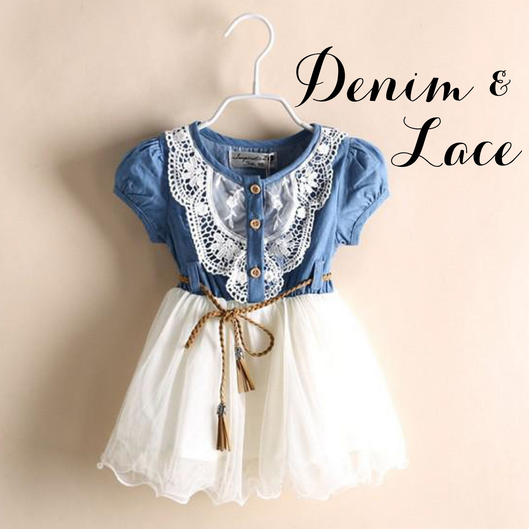 Denim & Lace Dress shipping included  Cowgirl dresses, Baby