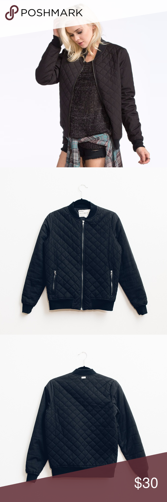 ff454b3c28f RVCA WOMEN S MASON QUILTED BOMBER JACKET Quilted bomber jacket from RVCA.  Size XS