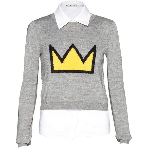Embroidered grey glitter Shark Sweater BOOrzth9S