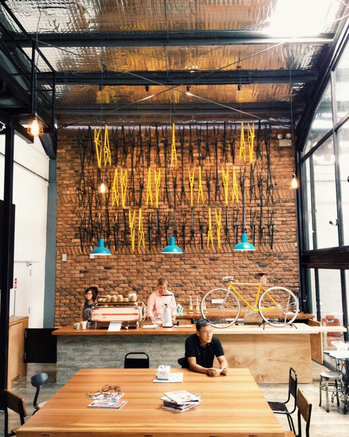 Wheeler's Yard Bicycle cafe, Coffee shop design, Cafe design