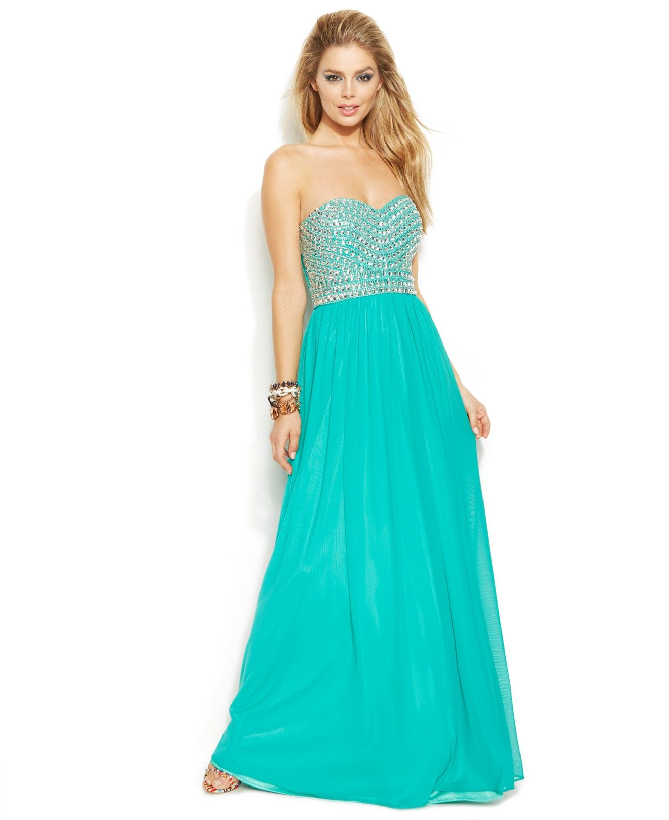 Joanna Chen Strapless Bead-Trim Pleated Gown - Juniors Shop All Prom ...