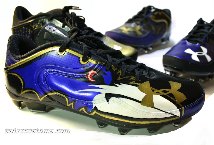 Baltimore Ravens Custom Under Armour Cleats by Twizz Customs. #ravens #nfl #baltimore #baltimoreravens #customshoes #football