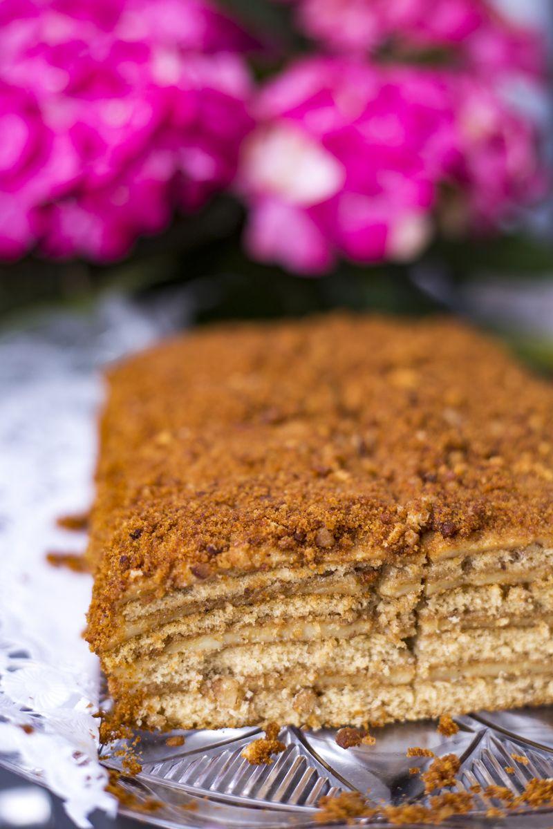 Honigkuchen Medovik | Baumkuchen mit Honig und Creme