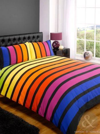 Striped Multi Coloured Printed Duvet Cover Bedding Uk