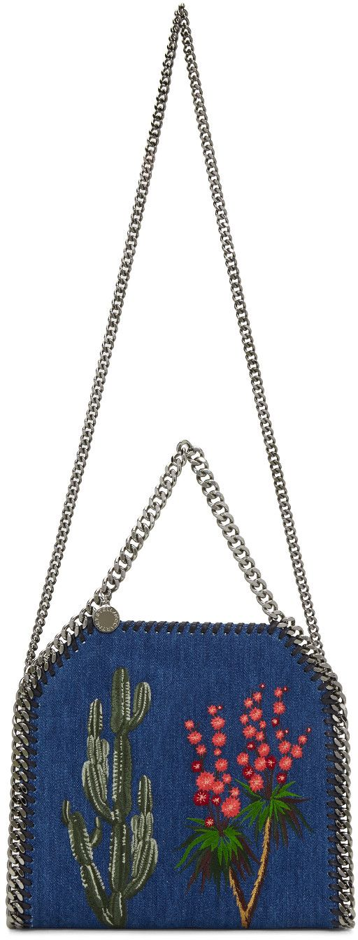 Stella McCartney - Blue Denim Mini Embroidered Falabella Tote ... da18400e5b935