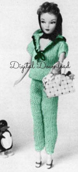 Barbie Sweater and Pants Set Knitting Pattern, Vintage 1963, Sailor ...