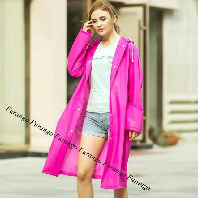 f76371c1676 6 Colors EVA Women Raincoat Hooded Poncho Waterproof Rain Coat Fashion  Rainwear  RainCoatYellowSale