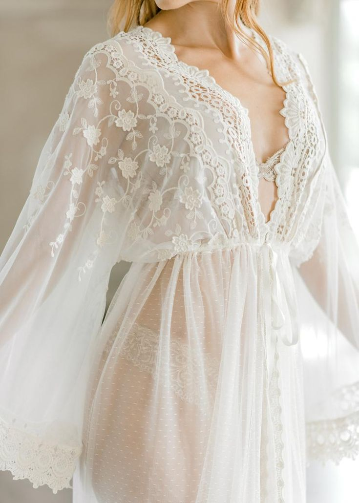 Photo of VINTAGE LACE BRIDAL robe for wedding day, boudoir photo shoot, lingerie for your wedding night, mate