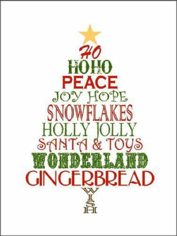 Christmas Tree Joy Hope Peace  Decorative Sign