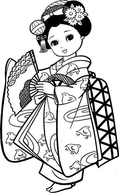 petite fille japonaise art th rapie coloriages pinterest. Black Bedroom Furniture Sets. Home Design Ideas