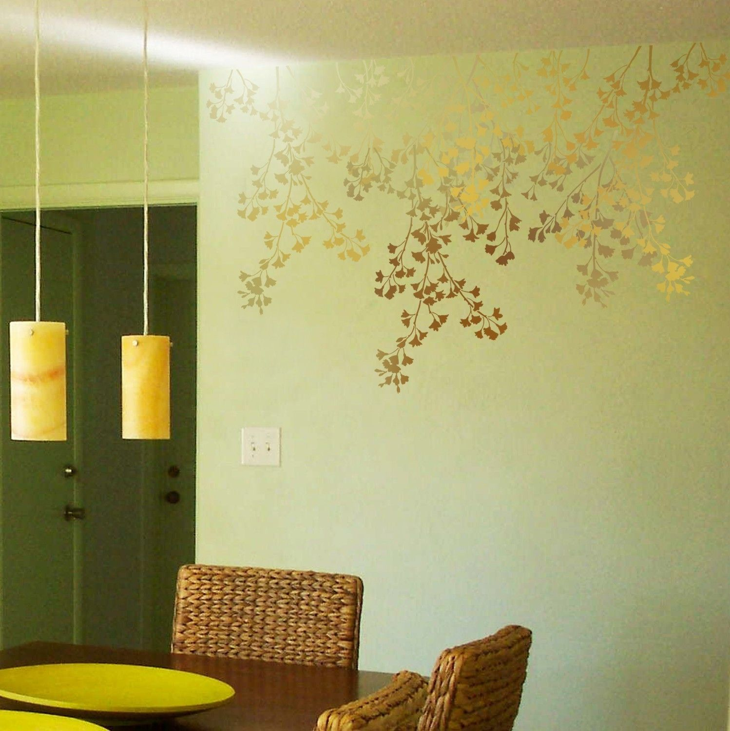 Stencil for walls Weeping Cherry - Reusable stencils better than ...