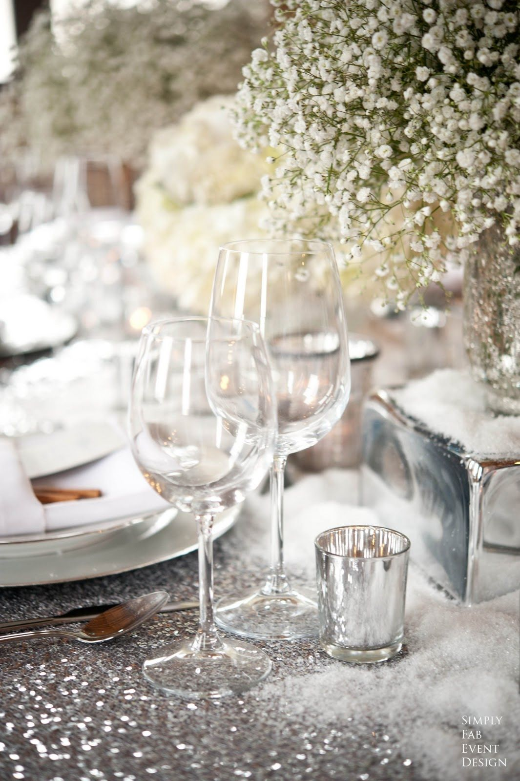 winter wedding centerpiece silver sequin glitter table cloth http ...