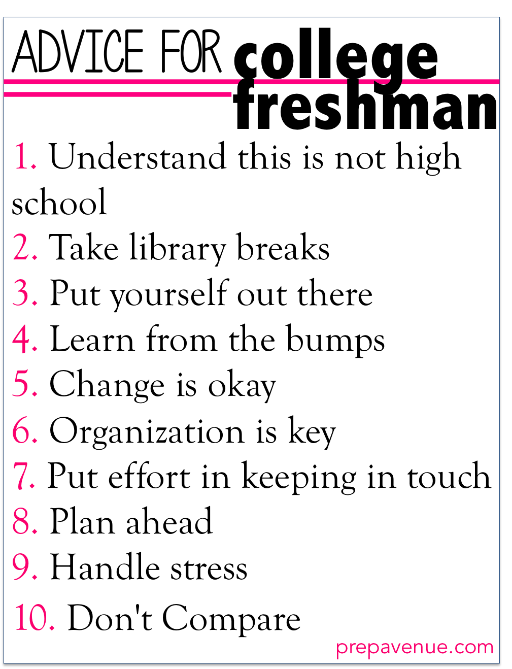 Advice to college freshman essay