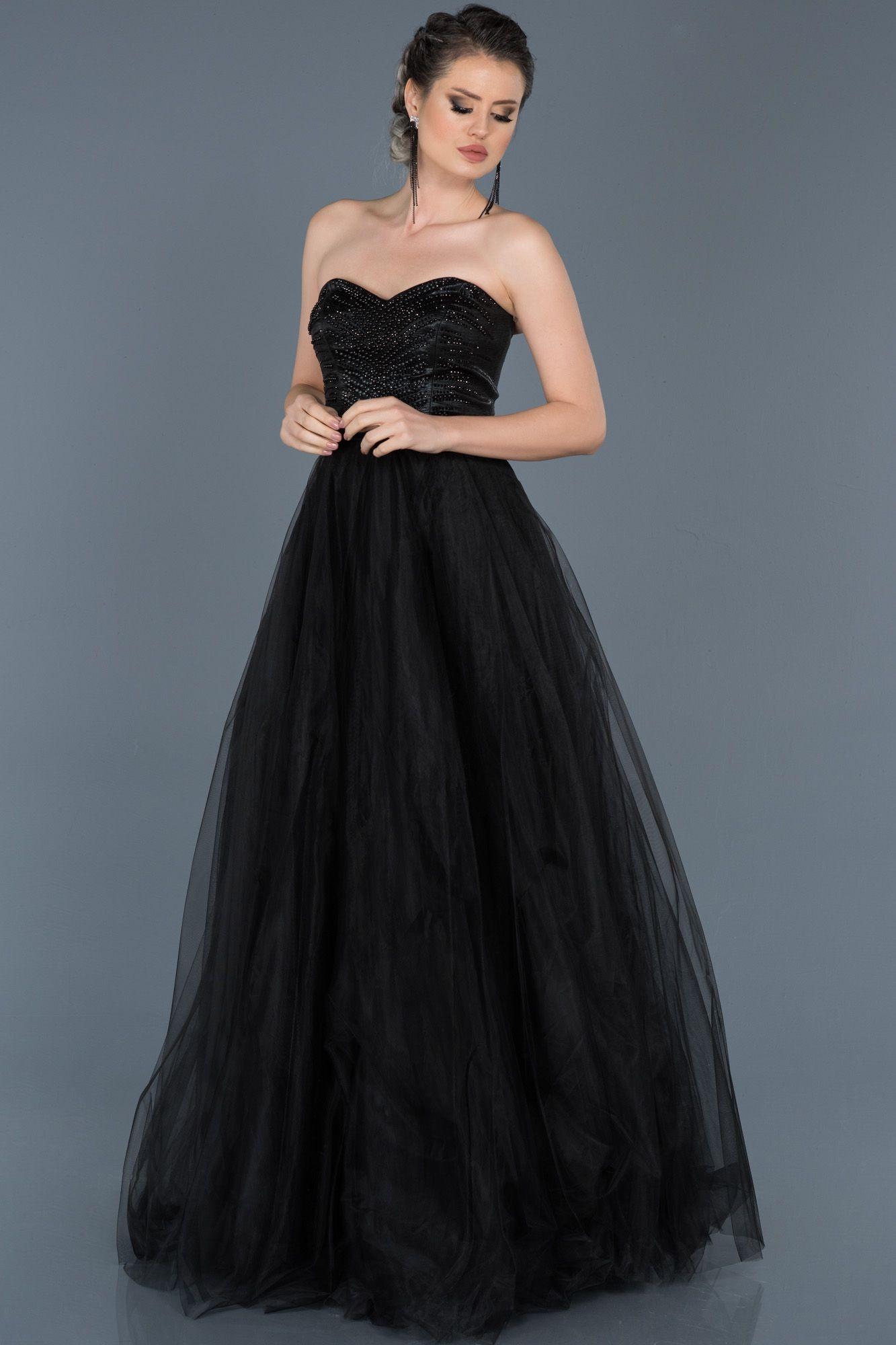 Siyah Straplez Prenses Abiye Abu574 Siyah Abiye Elbiseler Moda Stilleri