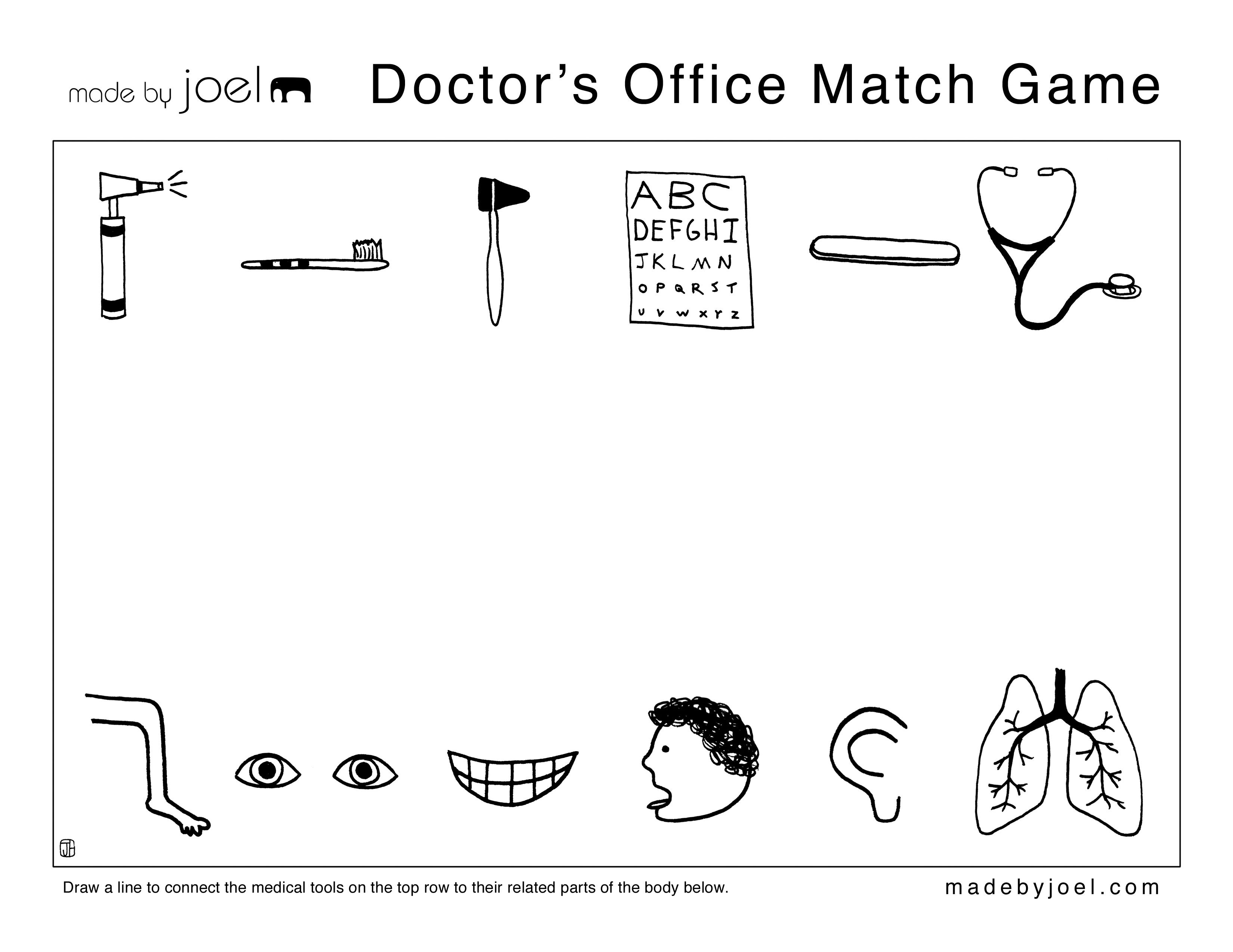 Made By Joel Crafts By Age Doctors Office Match Game Doctor