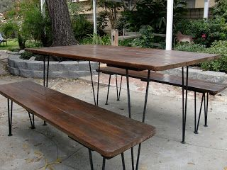 Modern picnic table with hairpin legs my bar stools would look antique picnic table new dining room table watchthetrailerfo