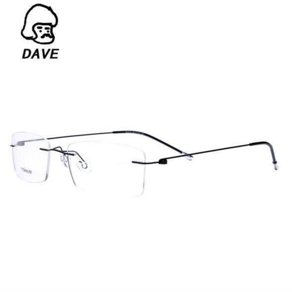 93b6a65203d DAVE 2017 Titanium Myopia Rimless Glasses Memory Square Eyeglasses Optical  Spectacle Frame Eyewear Men Women Brand Designer