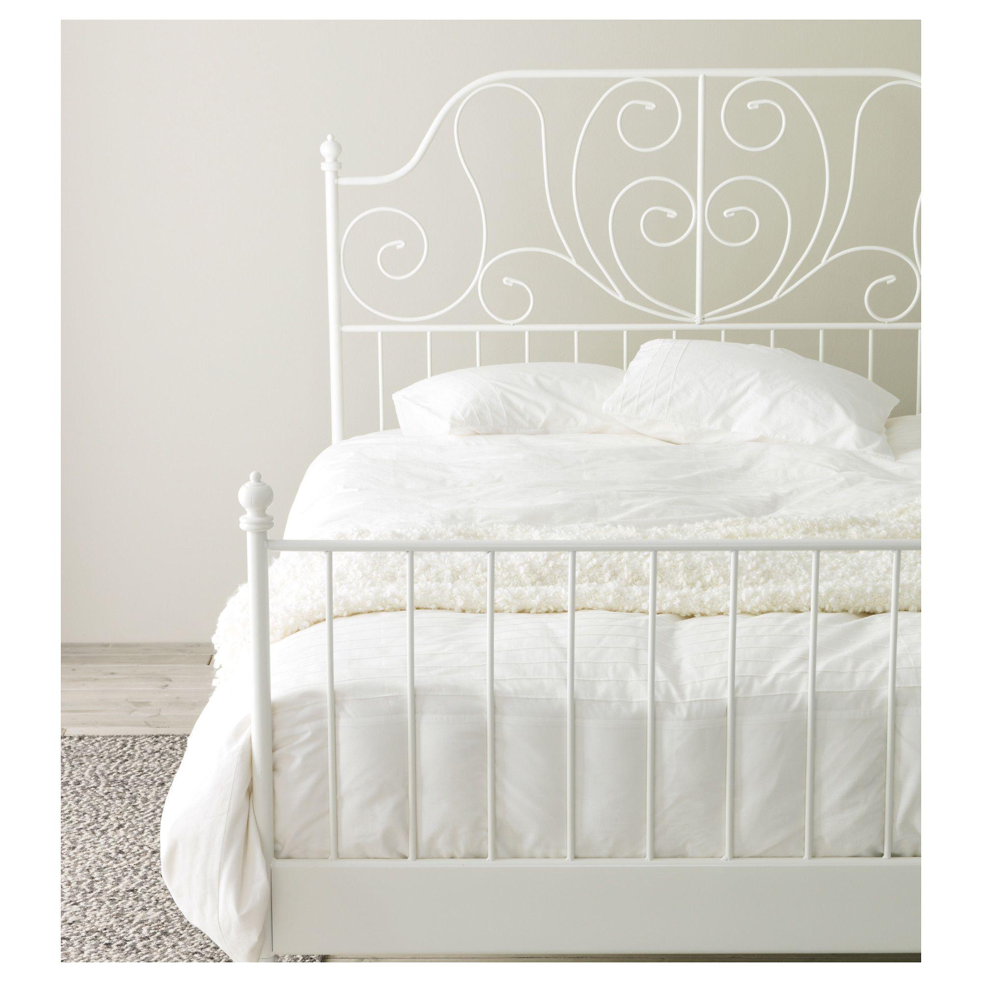 LEIRVIK Bed frame White/luröy Standard Double Bed frames
