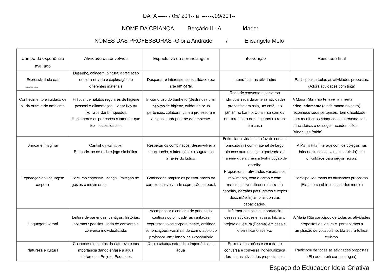 Modelo De Avaliacao Individual Bercario Preenchido Jpg 1600 1132