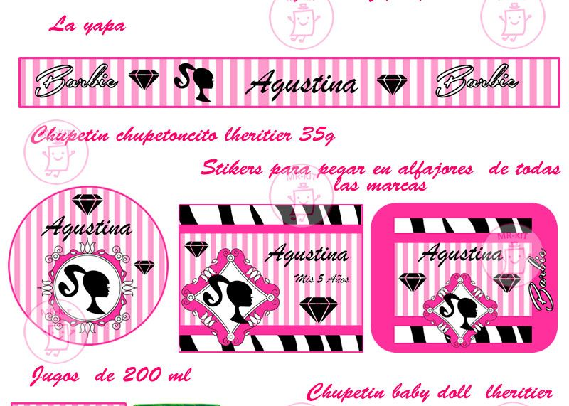 Kit Imprimible Barbie Silueta Tarjetas Mega Candy Bar 2x1 !! - $ 39,99 en MercadoLibre