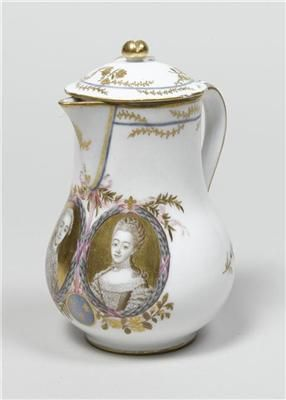 Milk jug with the portraits of the Comte and Comtesse de Provence.