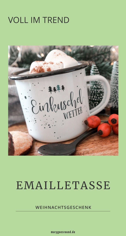 Emaille Tasse Einkuschel Wetter Weihnachten Emaille Tasse